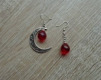 Moon and mother's day red bead earrings