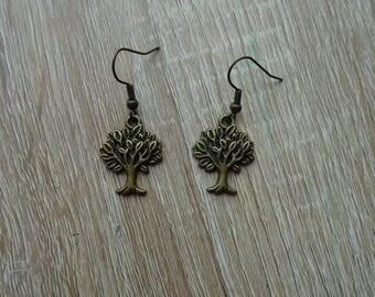 Antique bronze tree earrings