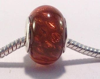 European bead charm's ochre acrylic glitter Silver (16F)
