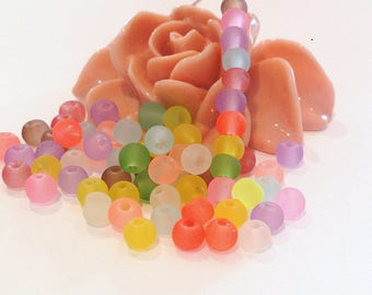 300 frosted multicolored beads, 4 mm, (A 78)