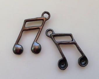16 / set 7 bead gunmetal sheet music brass 22mm