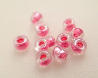 3.5 / 2mm TRANSPARENT Pink Pearl glass seed beads