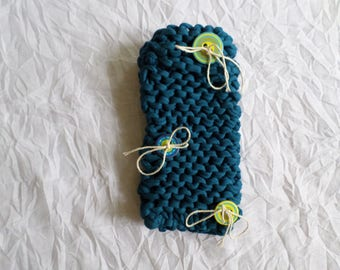 alunettes case made with a chunky wool cotton