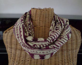 snood scarf in ecru and Burgundy viscose