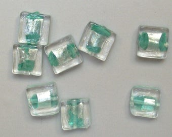 8 12 mm turquoise square glass beads.