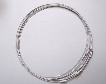 Set of 10 turns of the neck rigid wire cable 45 cm.