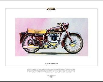 ARIEL HUNTMASTER - Motor Cycle Fine Art Print - 650cc twin 1954 motorbike FH650