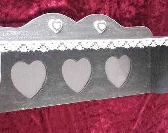 Shelf with three photo frames wall shabby heart shape