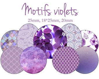 "Cabochons collage sheet / digital ""patterns purple, Plum, mauve, infinite"" round and oval"