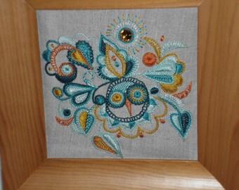 OWL in Breton embroidery silk thread