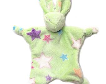 Rabbit plush fleece green and multicolored stars