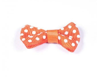 Bow orange polka dot 36x25mm for making jewelry