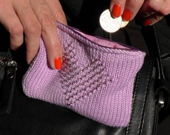 Beaded and Knitted Coin Purse Kits - Heart