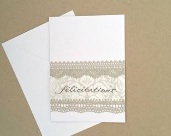 Congratulations birth or marriage - lace series card