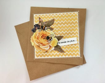 "Birthday 3D card ""Another year"" for woman - yellow flowers"