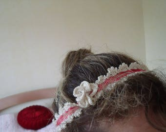 ROMANTIC BEIGE HEADBAND AND OLD ROSE LACE