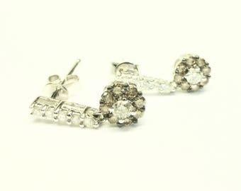 White & Champaign Diamond Dangling 18K White Gold Earrings!!