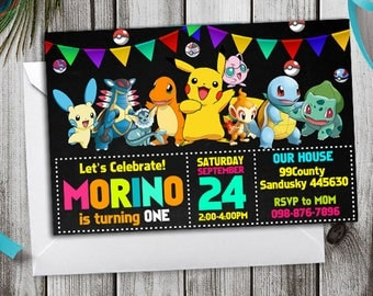 Pokemon Invitation, Pokemon Birthday, Pokemon Birthday Invitation, Pikachu, Pokemon Party, Pokemon Birthday Theme, Pokemon Printable Invite