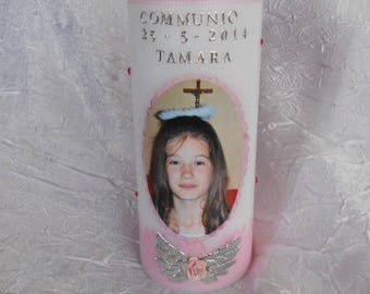 Candles personalized photo baby christening and communion