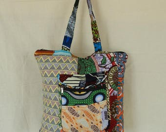 Large handbag Tote fabric patchwork No. 6