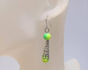 Conical Silver earrings yellow green beads