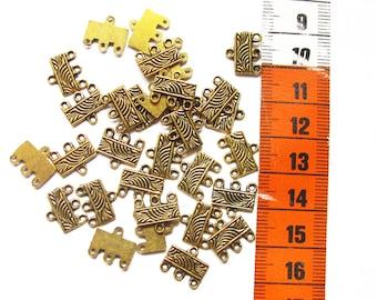 lot de 30 connecteurs 4 trous,métal doré 12mm