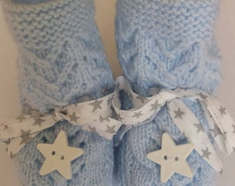 BOOTIES BABY BLUE AND WHITE STAR BUTTONS