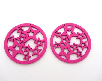 Set of two fancy round wooden beads, pink, Star