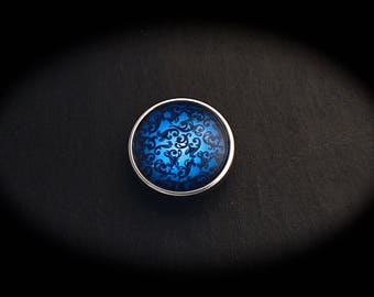 Cabochon 18mm for jewelry - blue Arabesque fancy pressure