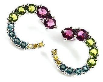 Stud earrings, aquamarine, peridot, tourmaline, citrine, topaz, crescent moon