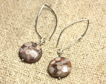 Earrings Silver 925 hooks 40mm - Jasper Ocean beads 16mm