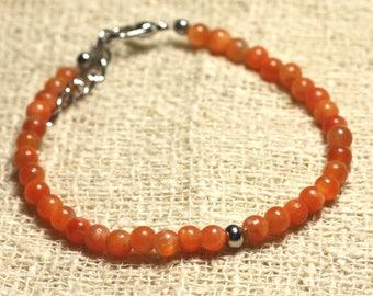 Orange bracelet 925 sterling silver and semi precious Calcite stone 4 mm