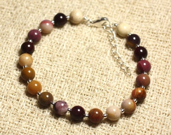 Bracelet 925 sterling silver and stone - 6mm Moukaite Jasper