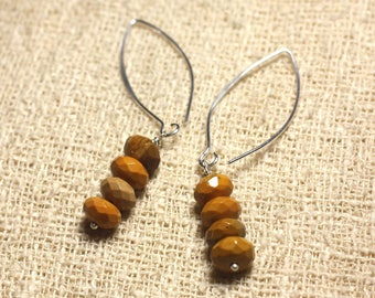 Sterling Silver 925 hooks 40mm - 8x5mm faceted Moukaite Jasper earrings
