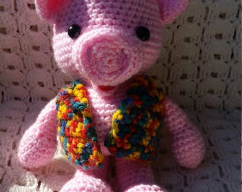 Pink Piggy - crochet toy for a birthday gift, to be part of the baby room design (handmade)