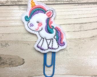 unicorn planner clip, felt paper clip, planner clip, planner accessory, planner accessories, planner supplies, cute planner
