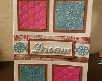 "Greeting card ""Dream a little Dream"". Scrapbook handmade card. Embossed card."