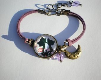 Bangle bracelet-bronze cabochon - cat bracelet - suede cords - gift bracelet