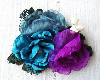 Fabric Flower Brooch handmade