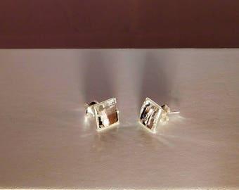 Square 8 mm x 8mm swarovski crystal 925 sterling silver studs