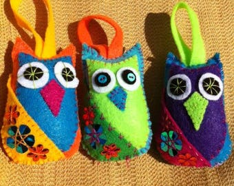 Jewel toned felt owl plush ornaments
