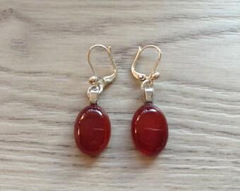 Carnelian stud earring silver plated earrings