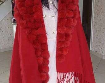 one size Cape with red rabbit fur tassels