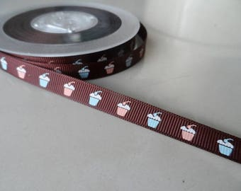 "10 meters of Ribbon 10 mm grosgrain ""gourmet"""
