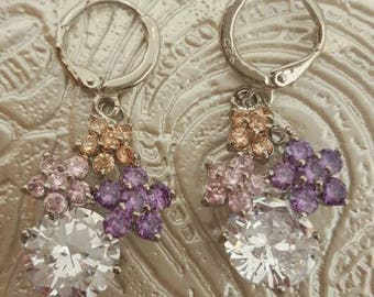 Earrings in 925 sterling silver and cubic zirconia
