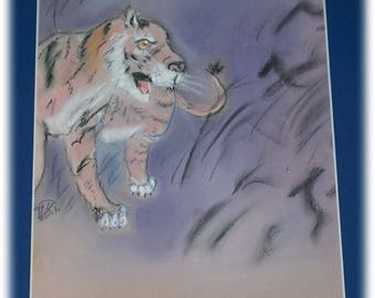 Pastel Tiger painting on the lookout for pastel painting signed and framed