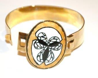 Bracelet brass porcelain creation Bracelet clover pattern
