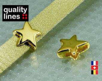 Golden passing star zamak cord flat leather 10mm - 10mm slide