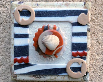 Table decor vibe Navy polymer clay with shell