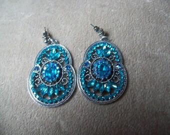 pair of blue rhinestone earrings